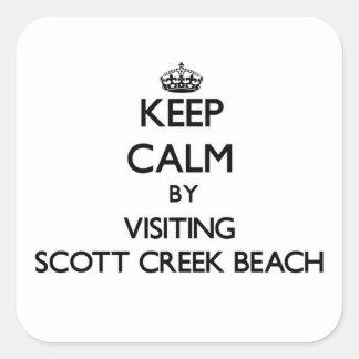 Guarde la calma visitando la playa California de Pegatina Cuadrada