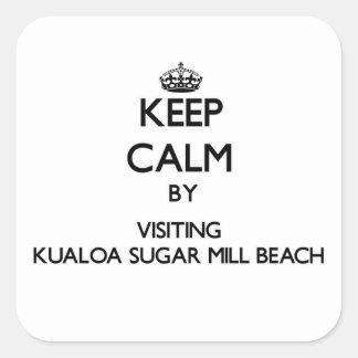Guarde la calma visitando la playa Hawa del molino Pegatina Cuadrada