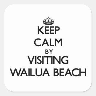 Guarde la calma visitando la playa Hawaii de Pegatinas Cuadradas Personalizadas