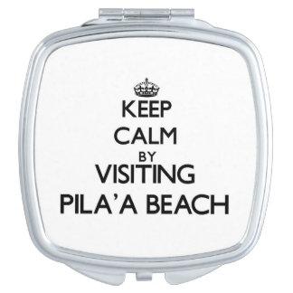 Guarde la calma visitando la playa Hawaii de Pila' Espejos Para El Bolso