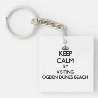 Guarde la calma visitando la playa Indiana de las Llavero Cuadrado Acrílico A Una Cara