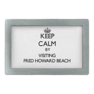 Guarde la calma visitando la playa la Florida de F Hebillas Cinturón Rectangulares