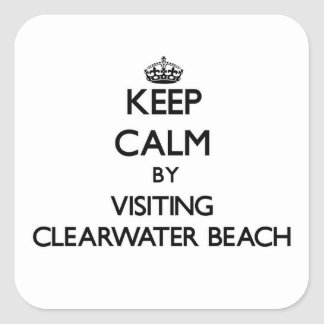 Guarde la calma visitando la playa la Florida de Pegatinas Cuadradases Personalizadas