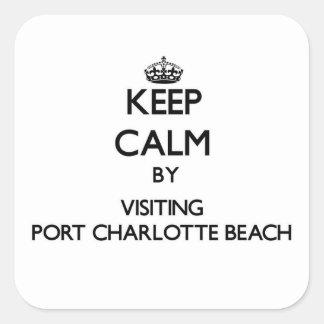 Guarde la calma visitando la playa la Florida de Calcomania Cuadradas Personalizadas