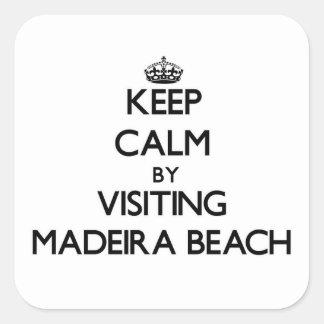 Guarde la calma visitando la playa la Florida de Calcomanías Cuadradass