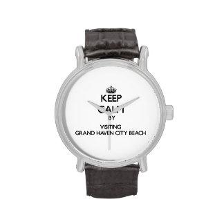 Guarde la calma visitando la playa magnífica Michi Relojes De Pulsera