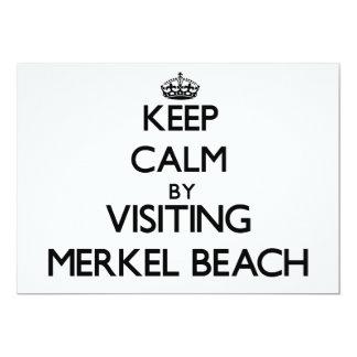 Guarde la calma visitando la playa Massachusetts Invitación 12,7 X 17,8 Cm