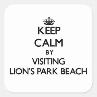 Guarde la calma visitando la playa Ohio del parque Pegatina Cuadrada