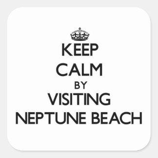 Guarde la calma visitando la playa Oregon de Calcomania Cuadradas Personalizadas