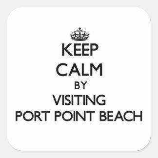 Guarde la calma visitando la playa Oregon del Calcomanías Cuadradass Personalizadas