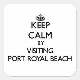 Guarde la calma visitando la playa real la Florida Calcomania Cuadradas Personalizadas