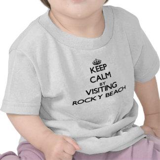Guarde la calma visitando la playa rocosa Rhode Camisetas