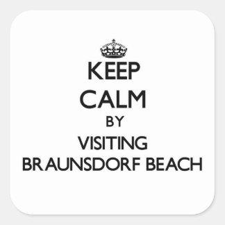 Guarde la calma visitando la playa Wisconsin de Calcomanías Cuadradass