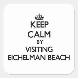 Guarde la calma visitando la playa Wisconsin de Colcomanias Cuadradas Personalizadas