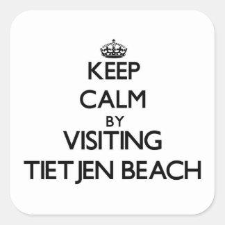Guarde la calma visitando la playa Wisconsin de Pegatinas Cuadradas Personalizadas