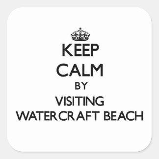 Guarde la calma visitando la playa Wisconsin del Calcomania Cuadradas Personalizadas