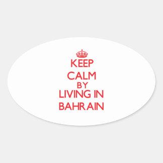 Guarde la calma viviendo en Bahrein Pegatina Ovalada