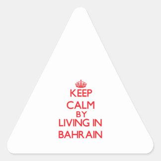 Guarde la calma viviendo en Bahrein Pegatinas Trianguladas