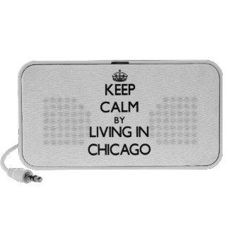 Guarde la calma viviendo en Chicago Laptop Altavoces
