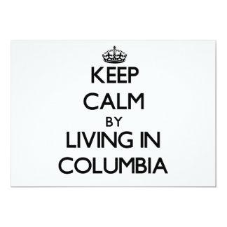 """Guarde la calma viviendo en Columbia Invitación 5"""" X 7"""""""