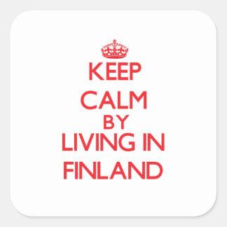 Guarde la calma viviendo en Finlandia Colcomanias Cuadradas