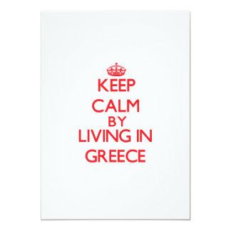 Guarde la calma viviendo en Grecia Invitación 12,7 X 17,8 Cm