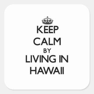 Guarde la calma viviendo en Hawaii Calcomanías Cuadradass Personalizadas