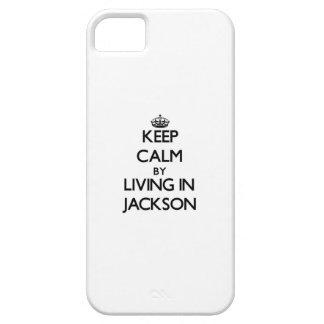Guarde la calma viviendo en Jackson iPhone 5 Carcasas