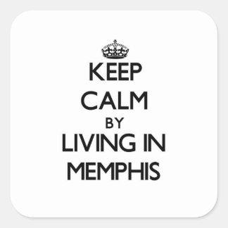 Guarde la calma viviendo en Memphis Calcomania Cuadradas Personalizada
