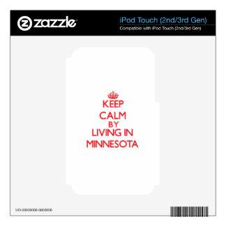 Guarde la calma viviendo en Minnesota iPod Touch 3G Calcomanía