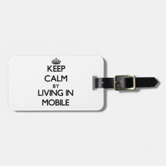 Guarde la calma viviendo en móvil etiquetas bolsas