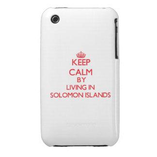 Guarde la calma viviendo en Solomon Island iPhone 3 Case-Mate Protector
