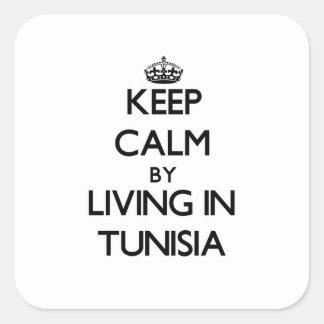 Guarde la calma viviendo en Túnez Calcomania Cuadradas Personalizada