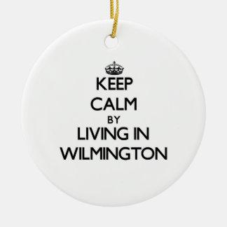 Guarde la calma viviendo en Wilmington Ornamentos De Navidad