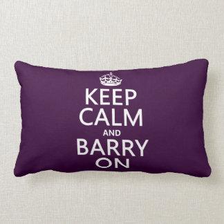 Guarde la calma y a Barry en (cualquier color de f Cojin