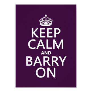 """Guarde la calma y a Barry en (cualquier color de Invitación 5.5"""" X 7.5"""""""