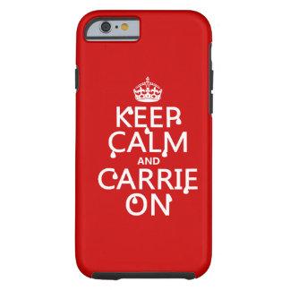 Guarde la calma y a Carrie encendido - sangre - Funda Resistente iPhone 6
