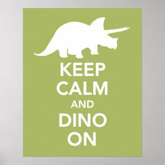 Guarde la calma y a Dino en la impresión o el post Póster