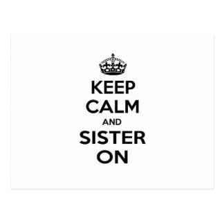 Guarde la calma y a la hermana encendido postales