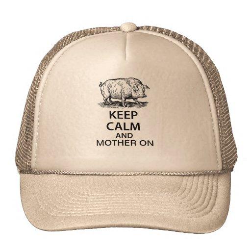 Guarde la calma y a la madre encendido gorros bordados