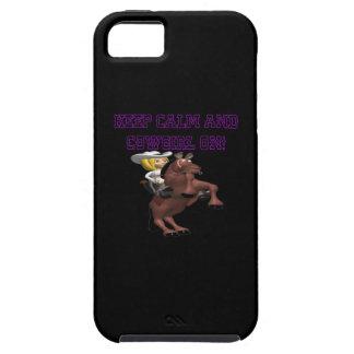 Guarde la calma y a la vaquera encendido iPhone 5 fundas