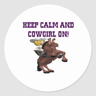 Guarde la calma y a la vaquera encendido pegatina redonda