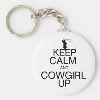 Guarde la calma y a la vaquera para arriba llaveros
