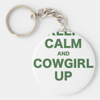 Guarde la calma y a la vaquera para arriba llavero