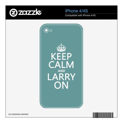 Guarde la calma y a Larry en (el color adaptable) iPhone 4S Calcomanías