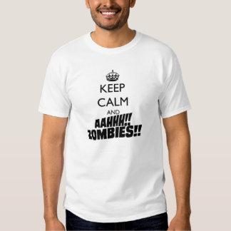 ¡Guarde la calma y a los ZOMBIS de AAHHH!! Remeras