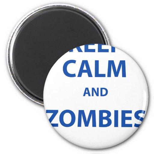 ¡Guarde la calma y a los zombis! Imán Redondo 5 Cm