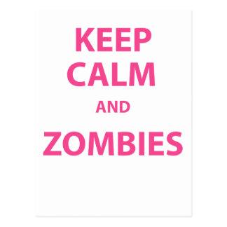 ¡Guarde la calma y a los zombis! Postal