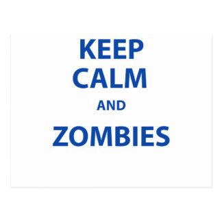 ¡Guarde la calma y a los zombis! Postales