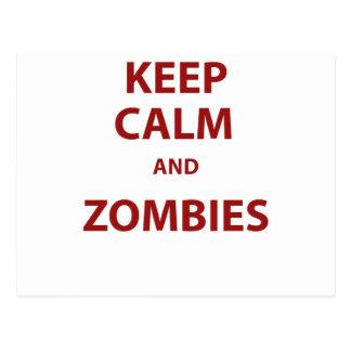Guarde la calma y a los zombis postal